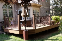 Wrought iron handrail around deck