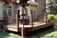 Wrought iron handrail around deck